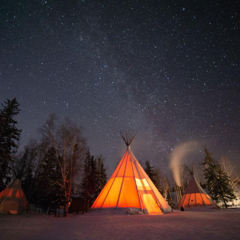 Aurora-Village-Yellowknife-Northwest-Territories-Canada-Aurora-Borealis-Northern-Lights-winter-orange-Credit-chris-Milkyway-Teepee Image