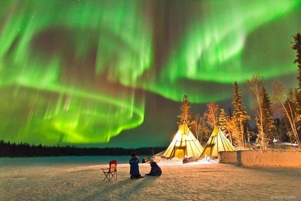 Aurora-Village-Yellowknife-Northwest-Territories-Canada-Aurora-Borealis-Northern-Lights-teepees-Credit-Kwon-o-chul-not-for-reuse