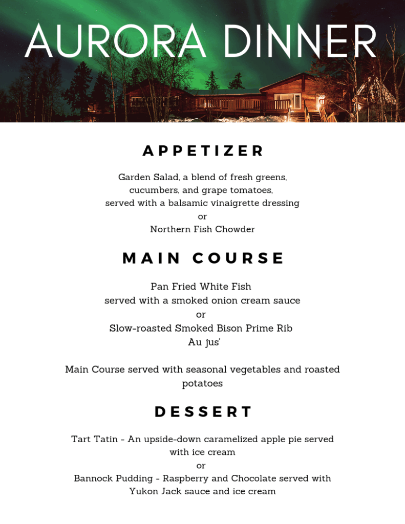 Aurora Village Dinner Menu